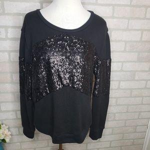 Victoria's Secret Black Sequin Front Sweatshirt